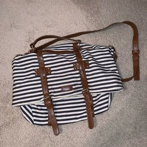 Forever 21 Navy and Cream Striped Tote Bag